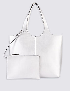 Faux Leather Reversible Shopper Bag