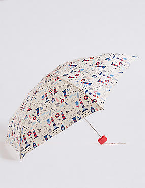 Printed Compact Umbrella with Stormwear™, CREAM MIX, catlanding