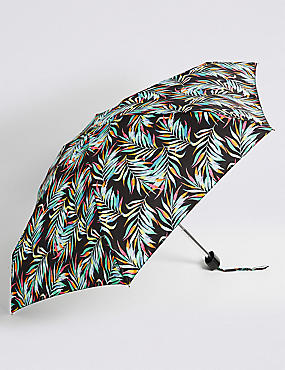 Printed Compact Umbrella with Stormwear™, BLACK MIX, catlanding