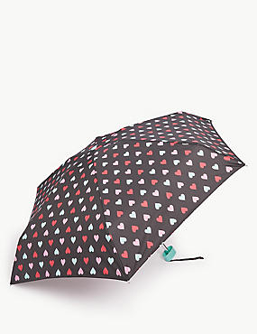 Heart Print Compact Umbrella with Stormwear™, BLACK MIX, catlanding