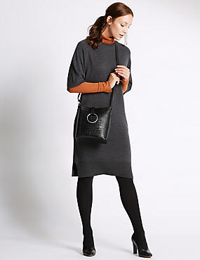 Faux Leather Ring Detail Across Body Bag