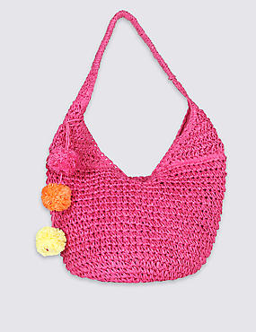 Straw Sling Hobo Bag
