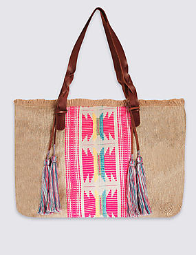 Plaited Handle Shopper Bag