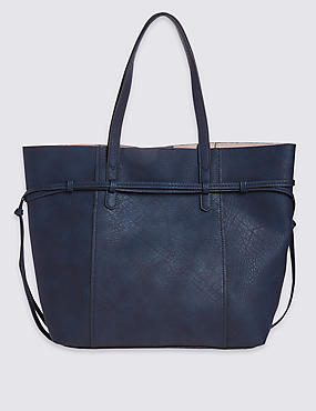 Faux Leather Tie Side Shopper Bag