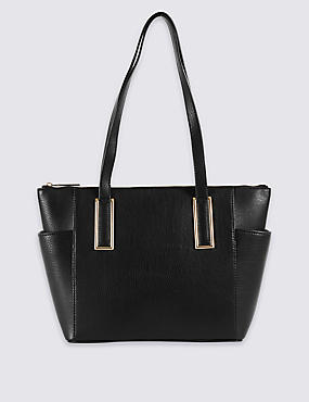 Faux Leather Metal Tab Shopper Bag