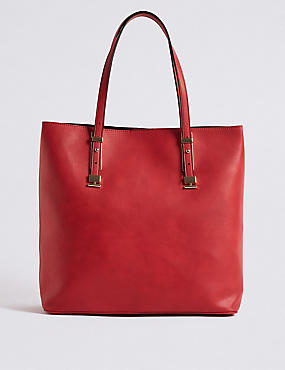 Faux Leather Carry All Shopper Bag, RED, catlanding
