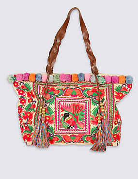 Floral Embroidered Shopper Bag