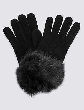 Faux Fur Cuff Winter Knitted Gloves