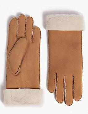 Sheepskin Gloves, BISCUIT, catlanding