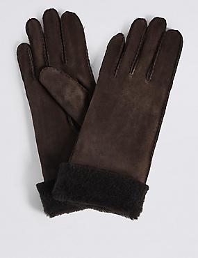 Sheepskin Gloves, CHOCOLATE, catlanding