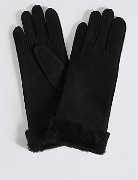Sheepskin Gloves, BLACK, catlanding