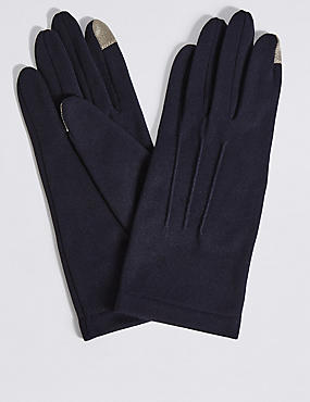 Touchscreen Jersey Gloves, NAVY, catlanding