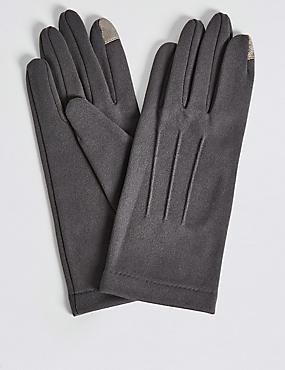 Touchscreen Jersey Gloves, GREY, catlanding
