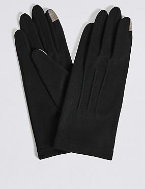 Touchscreen Jersey Gloves, BLACK, catlanding