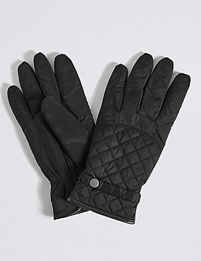Faux Leather Quilted Popper Gloves