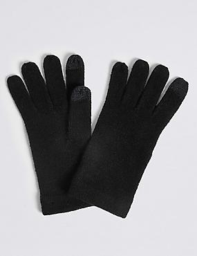 Knitted Touchscreen Gloves, BLACK, catlanding