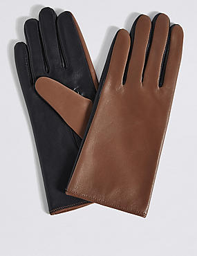 Leather Colour Block Gloves