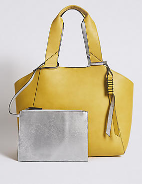 Faux Leather Reversible Shopper Bag, SILVER MIX, catlanding