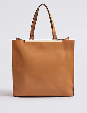 Faux Leather Metal Bar Oversize Shopper Bag