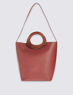Faux Leather Wooden Handle Tote Bag