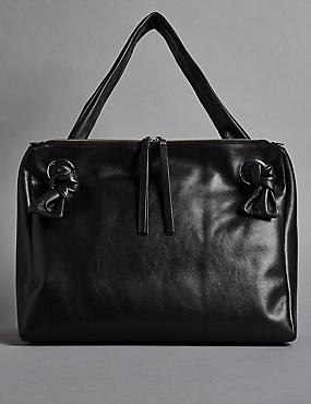 Leather Eyelet Tote Bag