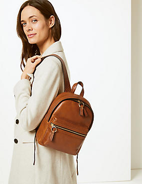 Leather Backpack Bag, TAN, catlanding
