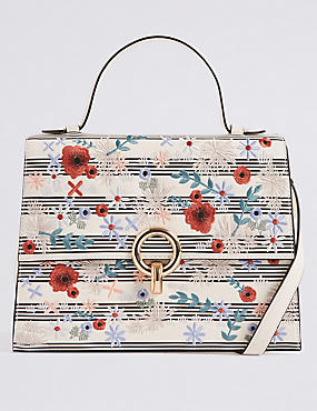Faux Leather Embroidered Tote Bag, , catlanding