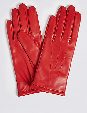 Leather Stitch Detail Gloves, RED, catlanding