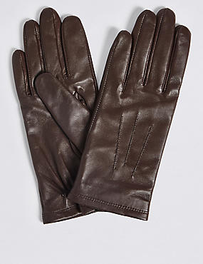 Leather Stitch Detail Gloves, CHOCOLATE, catlanding