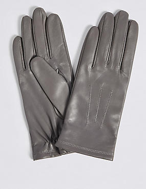Leather Stitch Detail Gloves, GREY, catlanding
