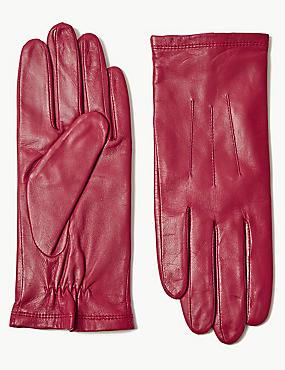 Leather Gloves, RED, catlanding
