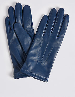 Leather Gloves, AIR FORCE BLUE, catlanding