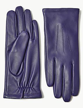 Leather Gloves, PURPLE, catlanding