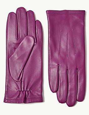Leather Gloves, MAGENTA, catlanding
