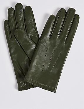 Leather Gloves, FOREST GREEN, catlanding