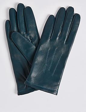 Leather Gloves, TEAL, catlanding