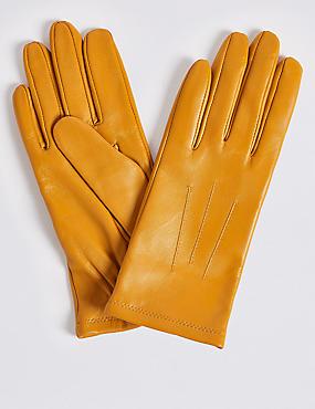 Leather Gloves, YELLOW, catlanding