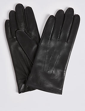 Leather Gloves , BLACK, catlanding