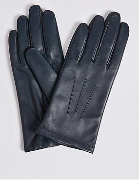 Leather Gloves, NAVY, catlanding