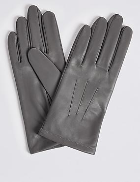 Leather Gloves, GREY, catlanding