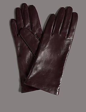 Cashmere Lined Leather Gloves, DARK RASPBERRY, catlanding