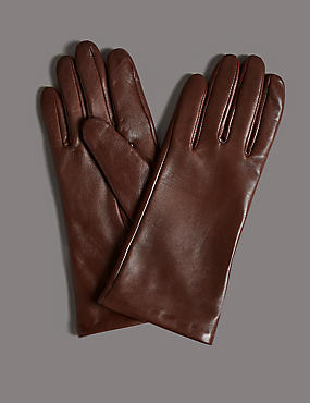 Cashmere Lined Leather Gloves, TAN, catlanding