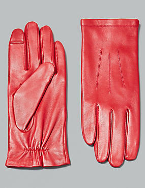 Touch Screen Leather Stitch Detail Gloves, RED, catlanding