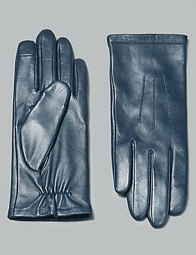 Touch Screen Leather Stitch Detail Gloves, NAVY, catlanding