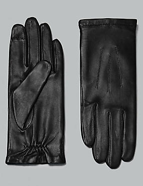 Touch Screen Leather Stitch Detail Gloves, BLACK, catlanding