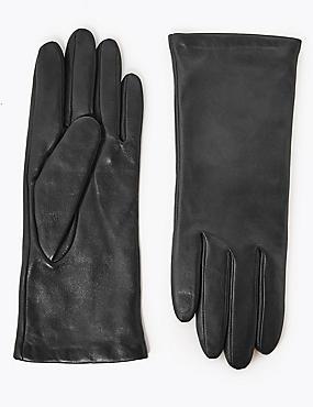 Leather Gloves, BLACK, catlanding