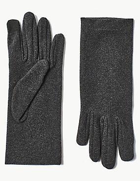 Touch Screen Fleece Gloves, CHARCOAL, catlanding