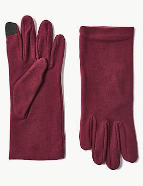 Touch Screen Fleece Gloves, BURGUNDY, catlanding