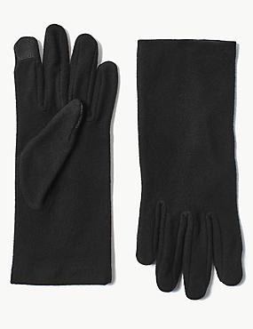 Touch Screen Fleece Gloves, BLACK, catlanding