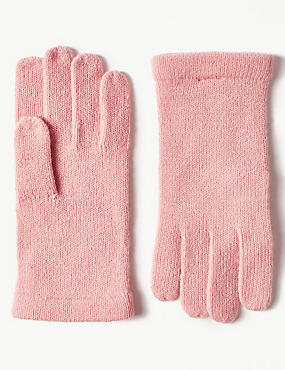 Knitted Gloves , LIGHT PINK, catlanding